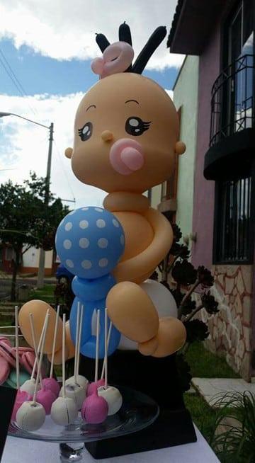 adornos con globos para baby shower niña