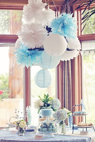 adornos para bautizo de niño con globos