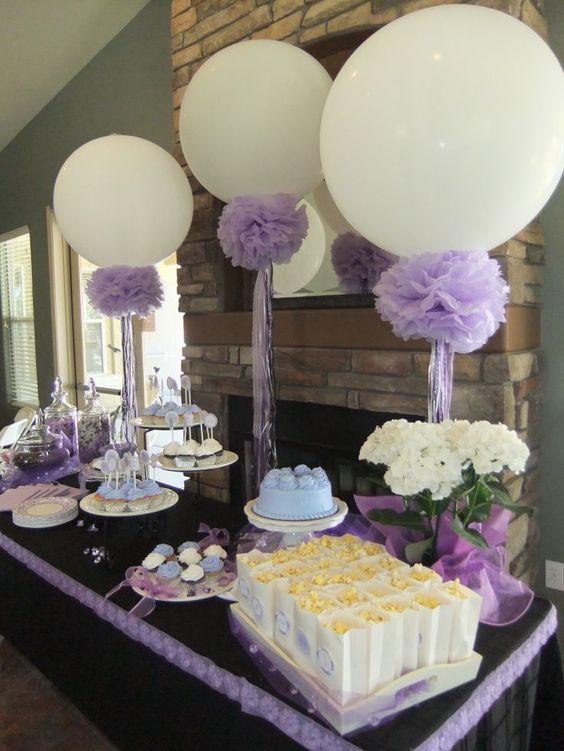 Ideas y arreglos de mesa para bautizo con globos y flores for O kitchen mira mesa
