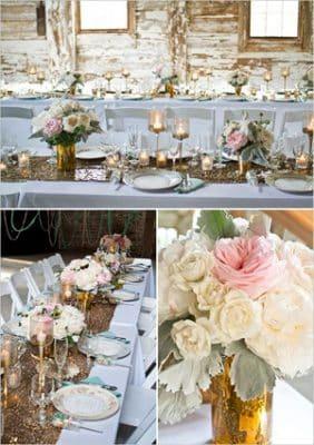 centros de mesa para bautizo con velas y cristal