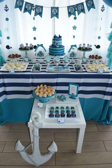 Sencilla decoracion para baby shower en casa con familiares - Decoracion de baby shower nino ...