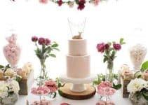Bellas fotos de centros de mesa para bautizo con diseño