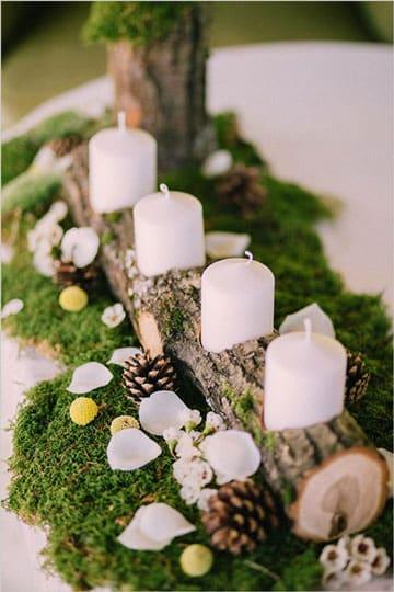 centro de mesa rustico con flores