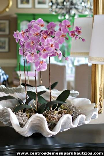 centros de mesa con orquideas artificiales