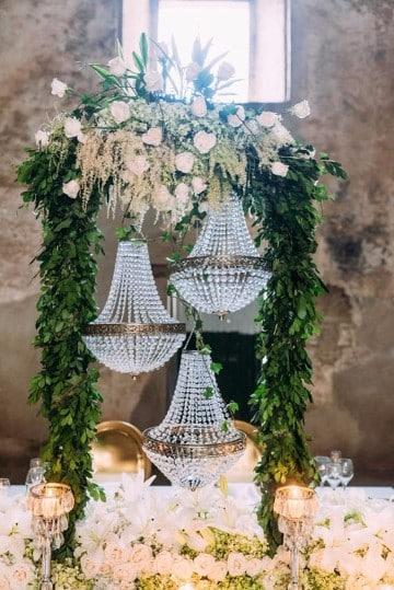 centros de mesa de cristal con flores
