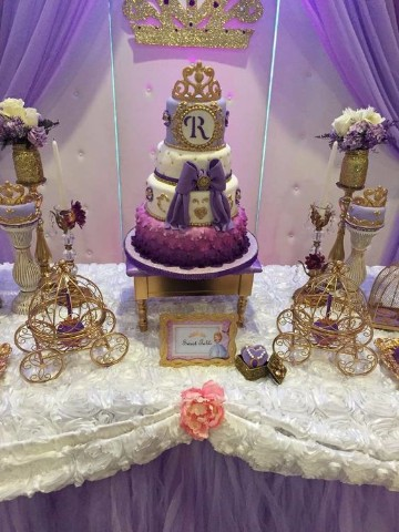 mesas decoradas de princesa sofia infantil