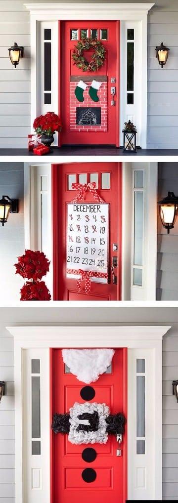 Adornos de navidad para puertas decoradas delegantes for Arreglo para puertas de navidad