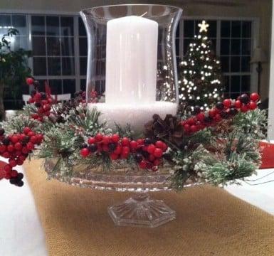 arreglos navideños para mesa con velas