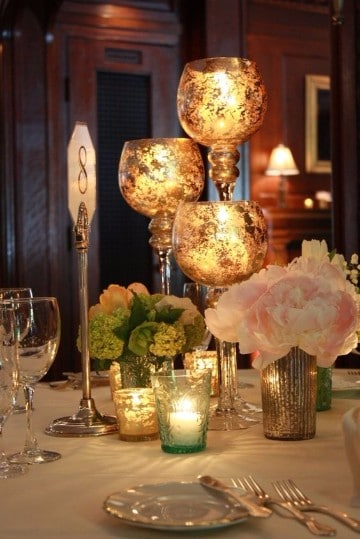 centros de mesa para bodas de oro aniversario