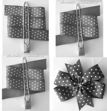 como hacer moños con cinta de tela para regalo