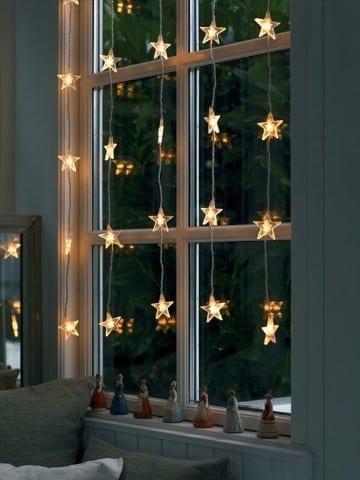 decoracion de ventanas navideñas con luces