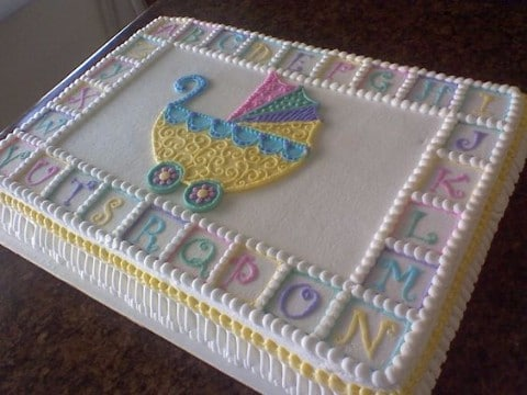 queque para baby shower cuadrado