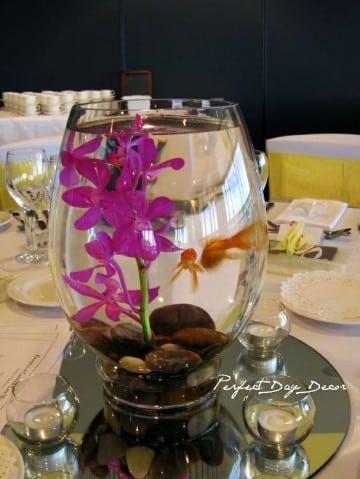 centros de mesa con peces para 15 años
