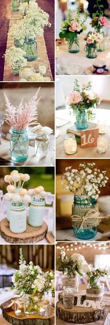 centros de mesa con frascos rusticos