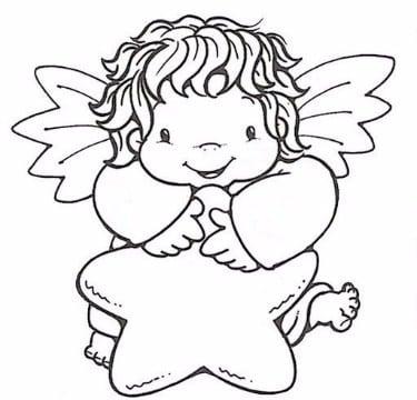 imagenes de angelitos para bautizo para colorear