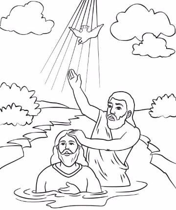 imagenes del bautismo de jesus para colorear