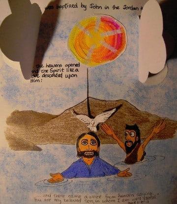 imagenes del bautismo de jesus para niños