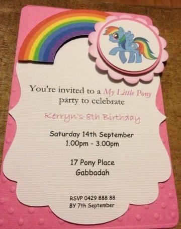 invitaciones de my little pony hechas a mano