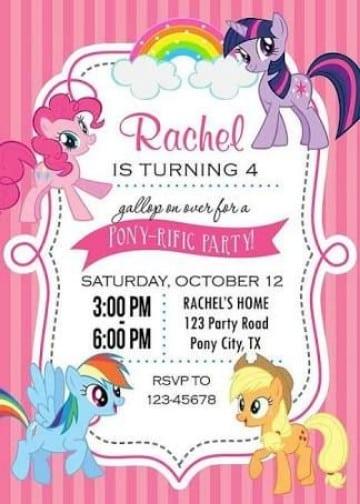 invitaciones de my little pony para imprimir