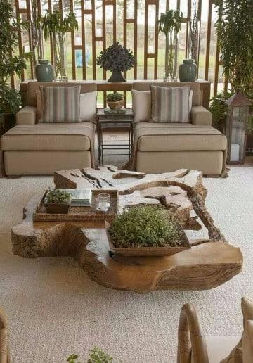 Troncos de madera decorados para adornar y sentarse - Mesas de troncos de madera ...