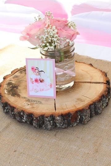 arreglos de mesa para bautizo originales en rosa
