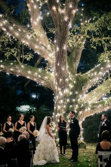 bodas en jardin de noche novios