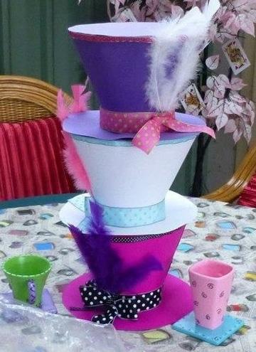 centros de mesa alicia en el pais de las maravillas sombreros