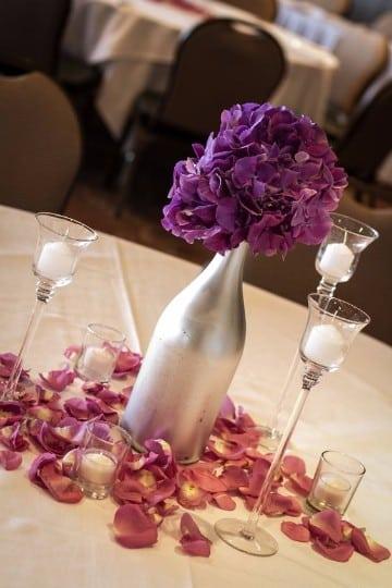 centros de mesa con hortensias para bodas
