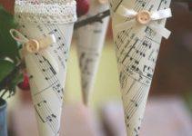 Molde para como hacer conos de papel para decorar