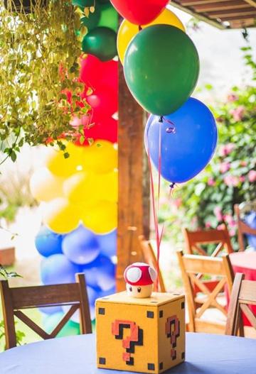 decoracion de mario bros para cumpleaños centro de mesa