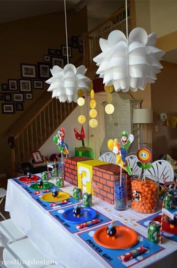 decoracion de mario bros para cumpleaños en casa
