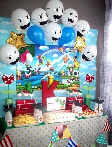 decoracion de mario bros para cumpleaños globos