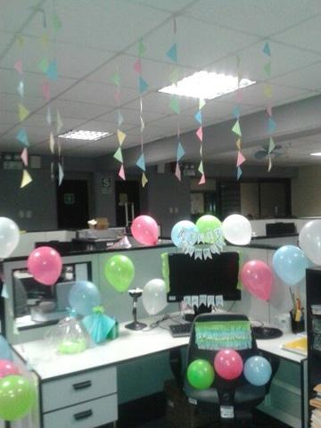 decoracion de oficina para cumpleaños de cubiculos
