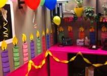 Decoracion de oficina para cumpleaños de adultos con globos