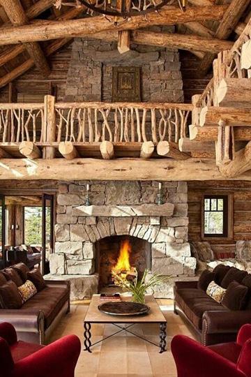 decoracion de salones rusticos con chimenea