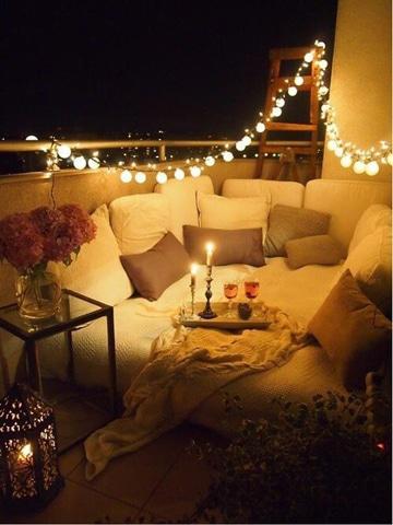 decoracion para noche romantica balcon