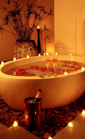 decoraciones romanticas para hombres bañera