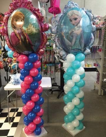 Decoracion con globos frozen personajes