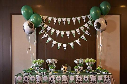 adornos de futbol para cumpleaños mesa