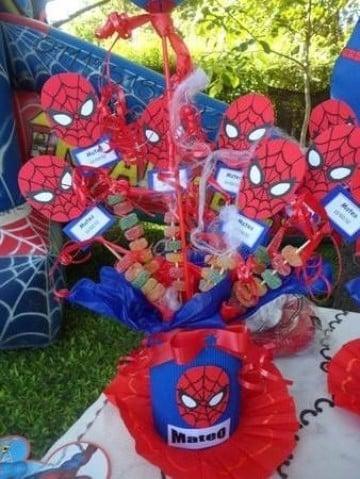 arreglos de mesa de spiderman sencillos