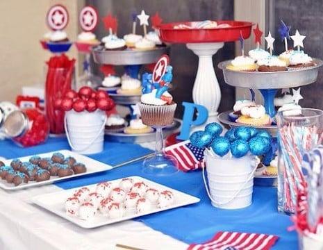 mesa de dulces capitan america facil de decorar