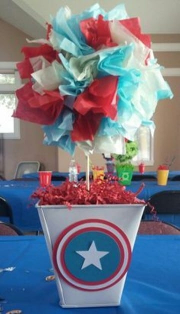 mesa de dulces capitan america para adornos