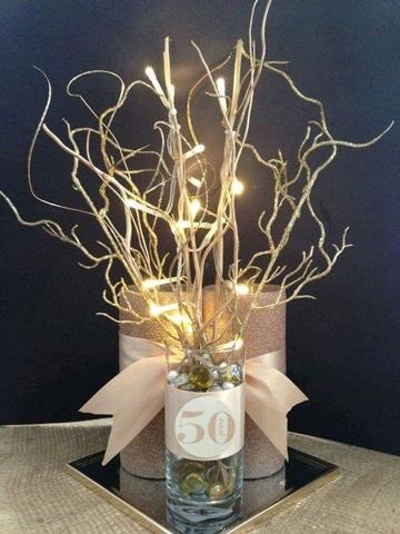 arreglos para bodas de oro velas