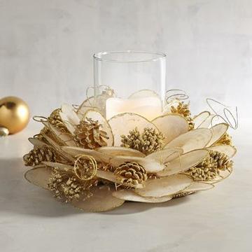 centros de mesa dorados navideño