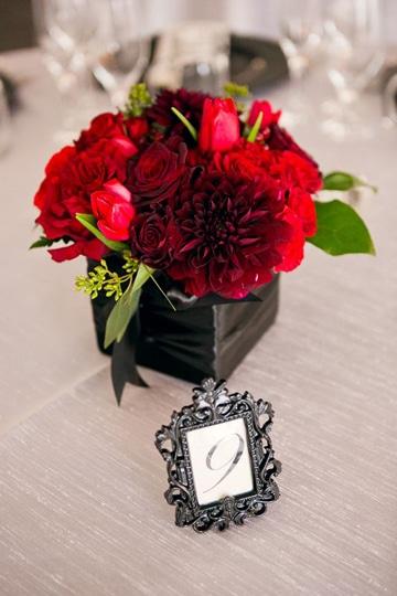 centros de mesa para boda rojos pequeño