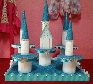 dulceros de frozen para fiesta infantil castillo