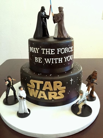 fiesta de star wars para niños torta