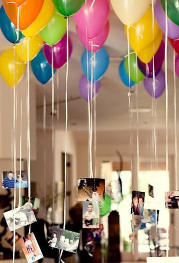 globos con fotos colgando para fiestas