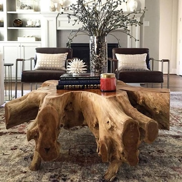 mesas rusticas de troncos para sala