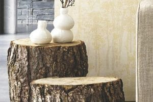 Decoracion interior y mesas rusticas de troncos